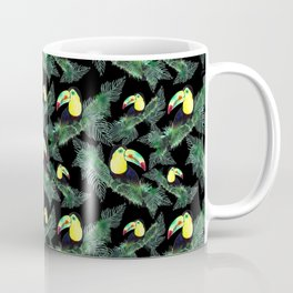 Happy Toucans And Tropical Leaves-Pattern Coffee Mug