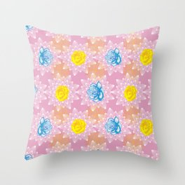 Pretty soft pink pastel floral pattern Throw Pillow