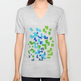 Minimalist Abstract Mid Century Modern Colorful Patterns Green Blue Shapes Unisex V-Neck