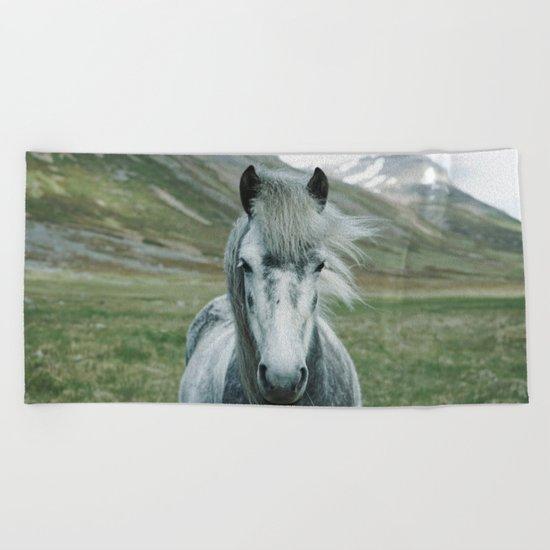 Grey Horse Beach Towel