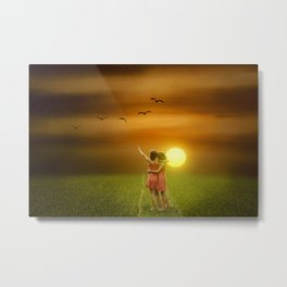 Girls Hugging At Sunset In A Field Metal Print