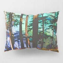 MOUNTAIN LAKE THROUGH HEMLOCK TREES Pillow Sham