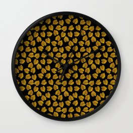 Gold Metallic Foil Photo-Effect Monstera Giant Tropical Leaves on Black Wall Clock