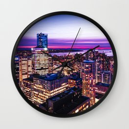1688 Voyeuristic Vancouver Cityscape - English Bay Pacific Rim View British Columbia Canada Travel Wall Clock