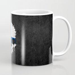 Flag of Finland on a Chaotic Splatter Skull Coffee Mug