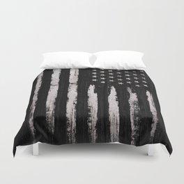 White Grunge American flag Duvet Cover