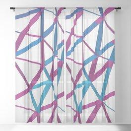 3D Futuristic GEO Lines Sheer Curtain