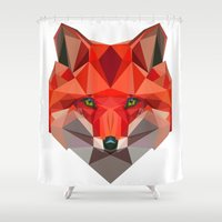 low poly Shower Curtains featuring Low poly Fox by exya