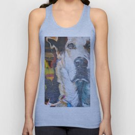 Few flowers as a tribute to the Loukanikos dog from Elisavet Unisex Tank Top