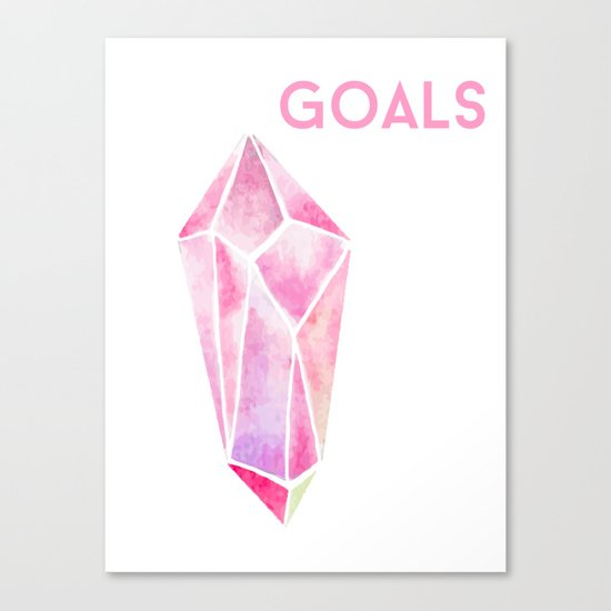 GOALS Watercolor Pink Crystal Minimalist Boss Lady Inspirational Typography Motivational Canvas Print