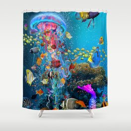 Electric Jellyfish at a Reef Shower Curtain