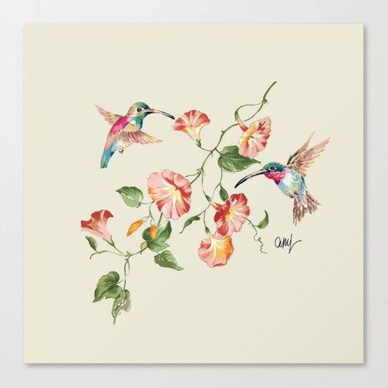 hummingbirds & morning glories Canvas Print