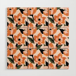 Bold orange poppy on a soft pink base Wood Wall Art