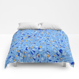 Bedtime Stories BLUE / Cartoon pencil pattern Comforters