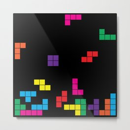 tetris on black Metal Print