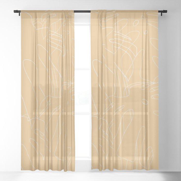 Monstera No2 Yellow Sheer Curtain
