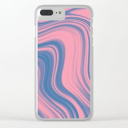 Liquid pink and blue Clear iPhone Case