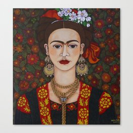 Frida with butterflies Canvas Print