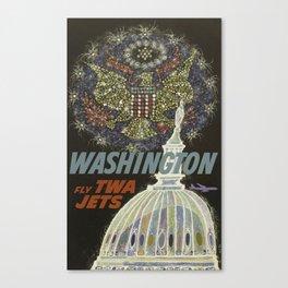 Vintage Travel Poster, Washington, Fly TWA Jets Canvas Print