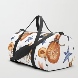 Happy halloween pattern with poison bottles, bags, mushrooms and lollipops Duffle Bag
