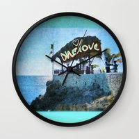 jamaica Wall Clocks featuring One Love… Jamaica by NisseDesigns