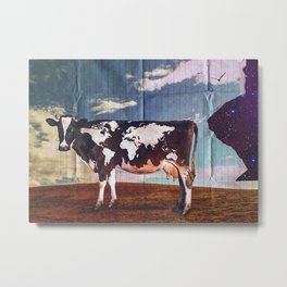 Surreal Bovine Atlas. Cow With World Map Metal Print