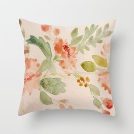 Fall Bouquet - Watercolor Peonies Throw Pillow