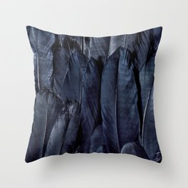Mystic Black Feather Close Up Throw Pillow