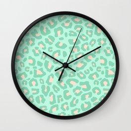 Leopard Print 2.0 - Neo Mint Wall Clock