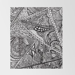 Black white Abstract Paisley doodle geometric pattern Throw Blanket