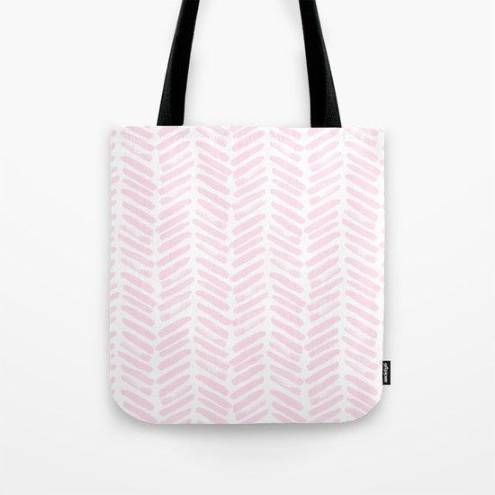 Handpainted Chevron pattern light pink stripes Tote Bag