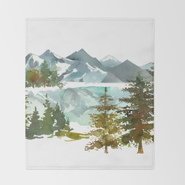 Forest green teal blue watercolor hand painted landscape Throw Blanket