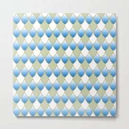 Squama Fhish Blue Pattern Metal Print