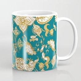 Golden Indian henna in green Coffee Mug