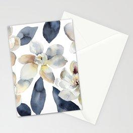 White Magnolias Watercolor Design Magnolia Grandiflora Floral Design Stationery Cards