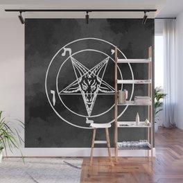 Satanic Pentagram - Black Watercolor Wall Mural