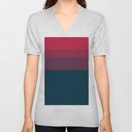 Red navy blue geometrical ombre stripes Unisex V-Neck