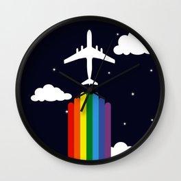 Rainbow airplane Wall Clock