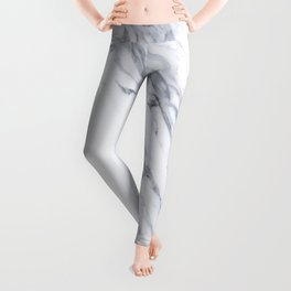 White Marble with Classic Black Veins Leggings