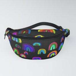 Happy Little Watercolor Rainbows in Mod Multi + Black Fanny Pack