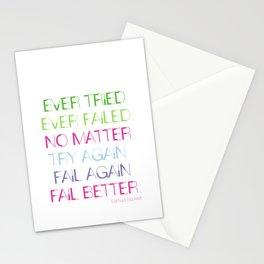 Try Again. Fail Again. Fail Better. - Minimal Stationery Cards