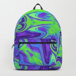 Groovy, Retro Purple and Green Swirls Design Backpack