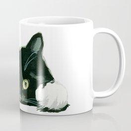 Black cat watching at you Coffee Mug