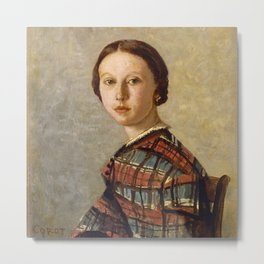 """Jean-Baptiste-Camille Corot """"Portrait of a Young Girl"""" Metal Print"""