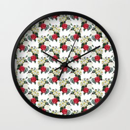 Daffodils Roses Vintage Floral Wallpaper Pattern Wall Clock