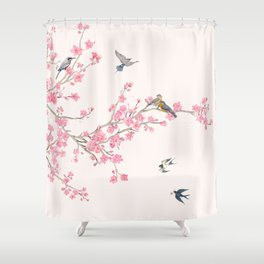 Birds and cherry blossoms Shower Curtain