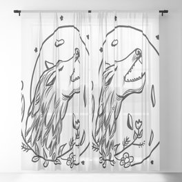 Wolf and moon Sheer Curtain