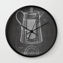 Coffee Percolator Patent - Coffee Shop Art - Black Chalkboard Wall Clock