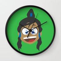 legend of korra Wall Clocks featuring Korra by tukylampkin