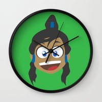 korra Wall Clocks featuring Korra by tukylampkin